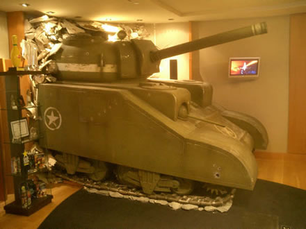 Feature Wall Battle Tank THQ Games Lobby - Showcase Interiors Ltd.